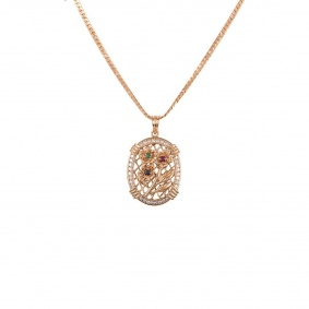 Rose Gold Diamond And Multi-Gem Flower Pendant